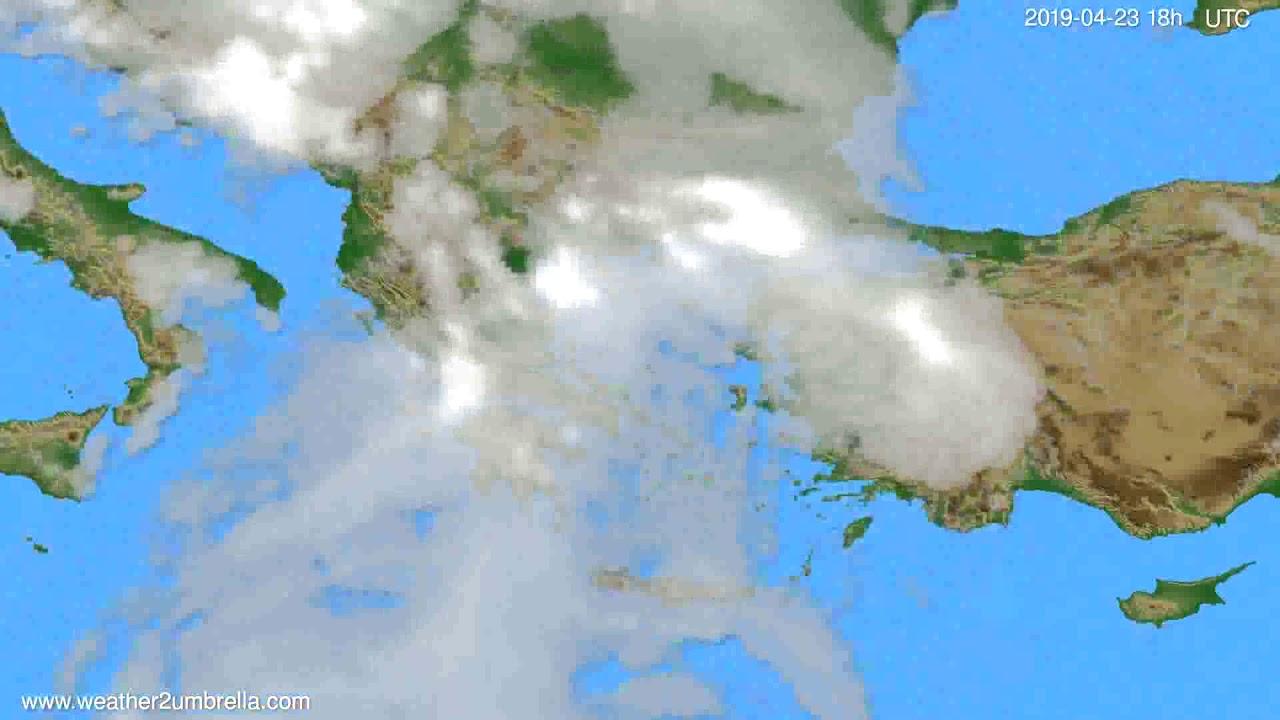 Cloud forecast Greece // modelrun: 12h UTC 2019-04-21