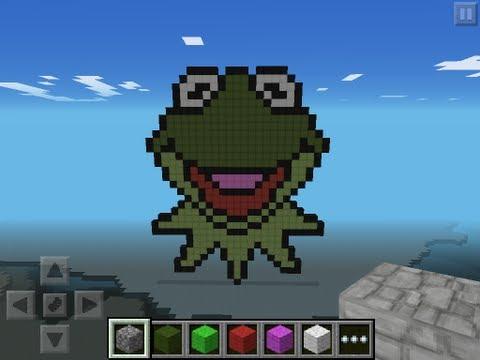 Minecraft Pe Pixel Art Kermit The Frog Minecraft Project