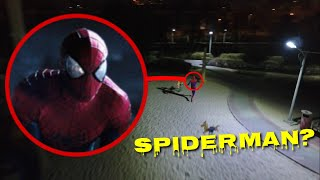 DRONE CATCHES SPIDERMAN AT THE FOREST!! (HE'S ACTUALLY REAL)