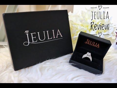 Jeulia Rings Review I Princess Cut Created White Sapphire Wedding Ring Set