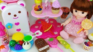 Baby Doll Ice cream shop and kitchen refrigerator cooking food toys play