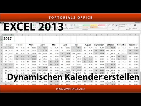 Dynamischen Kalender erstellen + Download (Excel)