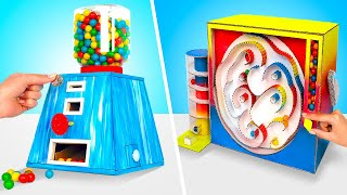GUMBALL MACHINES AT HOME || Easy Cardboard Chewing Gum Dispensers