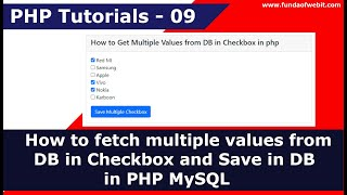 How to fetch multiple values from DB in Checkbox and Save in DB in PHP MySQL   PHP Tutorials - 9