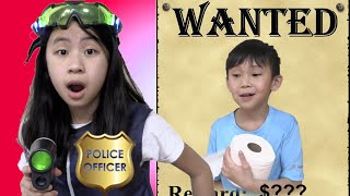 Pretend Play Police on Wanted Person Using Tricks
