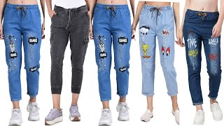 Latest Denim  Jeans 2020 | Trendy Denim Jogger Pants For Girls|  Ripped Jeans | Denim Joggers Women
