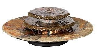 """Slate Rounds 17 1/2"""" Wide Lighted Table Fountain"""