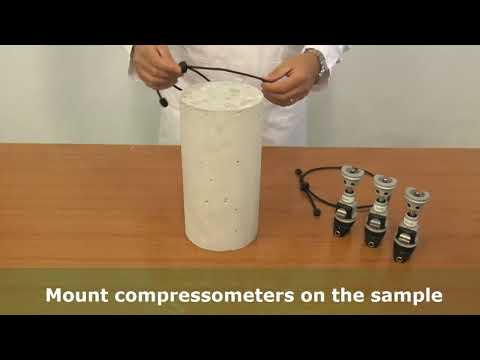AUTOMAX E-Modulus — How-to fit a concrete cylinder with compressometer-extensometer for elasticyty modulus test — CONTROLS | CONTROLS Group