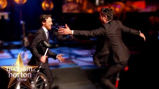 James McAvoy AND <b>Mark Ruffalo </b>Ride Unicycles Round The Studio  The Graham Norton Show