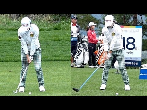 [Slow HD] KIM Hyo-Joo 2013 Driver vs Wedge Dual View golf swing (5)_KLPGA Tour