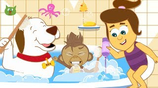 Bath Time Song: Annie Ben and Mango   Nursery Rhymes For Children by HooplaKidz