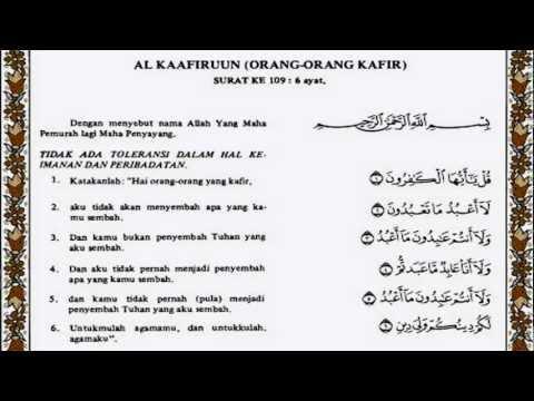 Surat Al Kafirun Merdu Dan Artinya Terjemahan Indonesia Atau
