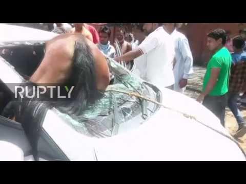 حصان يعلق في زجاج سيارة بعد حادث تصادم