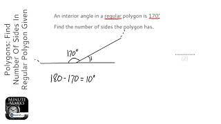 Polygons: Find Number Of Sides In Regular Polygon Given Interior Angle (Grade 4) - GCSE Maths