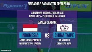 Live Streaming Badminton Ganda Campuran Bintang Cahyono-Winny Oktavina Vs Taipei di Singapore Open