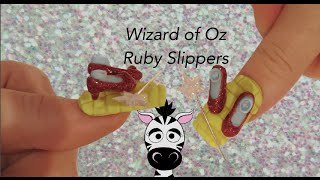 3D Wizard of Oz Ruby Slippers Acrylic Nail Art Design Tutorial (REQUEST)