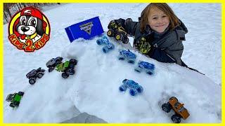 Hot Wheels & Monster Jam Toy Trucks in the Snow ❄️ MONSTER TRUCK IGLOO Downhill Race (ft. Rev Tredz)