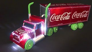 AMAZING COCA-COLA CHRISTMAS TRUCK MADE WITH ALUMINUM CANS AND LEDS