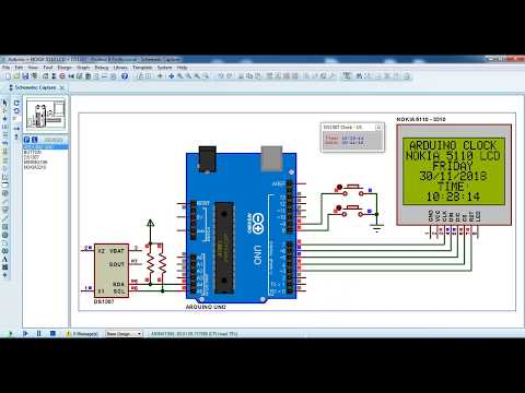 Arduino clock with NOKIA 5110 LCD and DS1307 - Proteus simulation