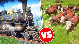 100 COWS vs TRAIN! (Red Dead Mods)