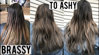ASH BROWN HAIR TRANSFORMATION TUTORIAL | HOW TO REMOVE UNWANTED BRASSY TONES