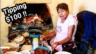 WONDERFUL Street Food in Mexico - Tipping 100 Dollars - Money Sent From SUBSCRIBERS!! Gorditas Tacos