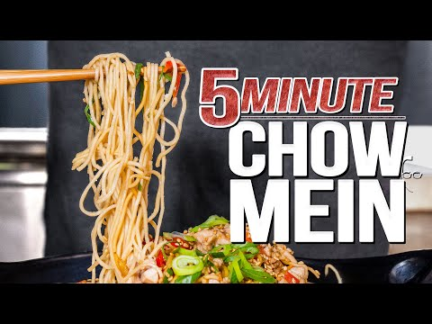 QUICK & EASY CHOW MEIN NOODLES (FIVE MINUTE DINNER)   SAM THE COOKING GUY