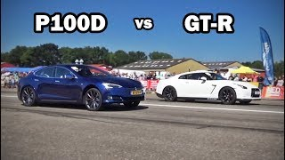 Can a Nissan GT-R beat a Tesla P100D with launch control?