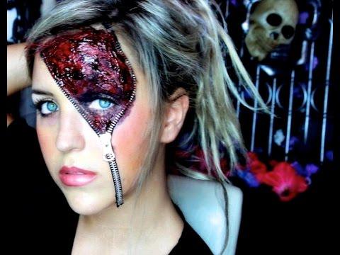maquillage halloween avec fermeture eclair