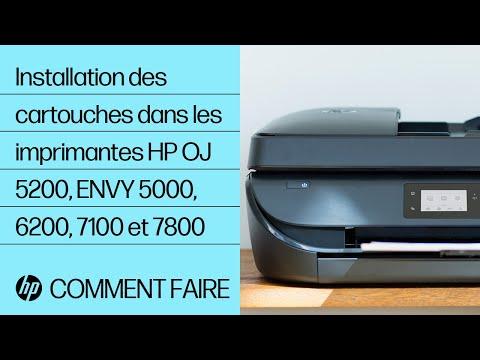 Installation des cartouches d'encre dans les imprimantes des gammes HP OfficeJet 5200 et ENVY 5000, 6200, 7100 et 7800