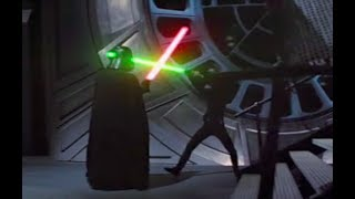 Luke vs. Darth, but every time lightsabers clash Luke says hello, and every time he misses