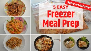 FREEZER MEAL PREP ⭐️5 Easy Recipe⭐️Stay-At-Home🏠 (EP171)