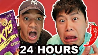 I Only Ate HOT & SPICY FOODS for 24 hours!! **IMPOSSIBLE CHALLENGE** (FEAT. DAVIDPARODY)