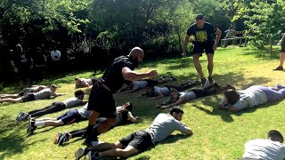 Cezar Bononi and Adrian Jaoude race each other at WWE tryout in Chile
