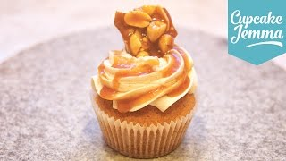Peanut & Banana Caramel Cupcakes With Peanut Brittle   Cupcake Jemma