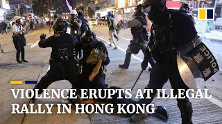 Illegal rally turns violent on 21st weekend of anti-government protests in Hong Kong