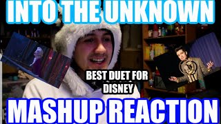 "THIS DUET IS AMAZING (REACTION)""Into The Unknown"" DUET Mashup(Idina Menzel vs. Panic! at the Disco)"