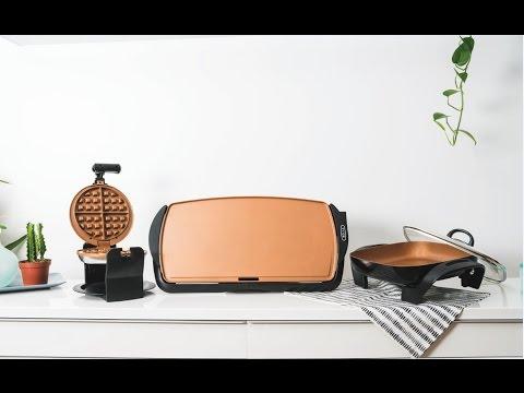 BELLA Copper Titanium Collection-Waffle Maker, Griddle and Skillet