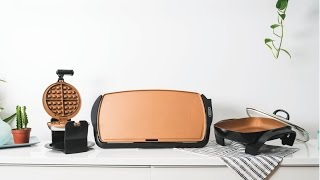 BELLA Copper Titanium Collection-Waffle Maker, Griddle and Skillet