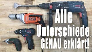 Akkuschrauber, Bohrmaschine, Bohrhammer - Das sind die Unterschiede!