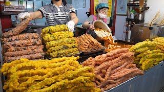 줄서서 먹는 대왕김말이, 오징어튀김! 비트와 치자로 반죽 / giant seaweed roll, deep-fried squid - korean street food