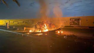 video: Watch: Car ablaze in aftermath of US assassination of Iran's General Qassim Soleimani