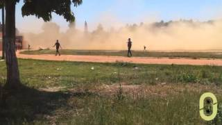 preview picture of video 'إقلاع طائرة هيلكوبتر من الملعب البلدي لوزان'