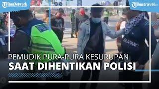 Pemudik Kesurupan, Berkata Aneh & Menatap Tajam Polisi di Pos Penyekatan Bandung: Beri Surat Tilang