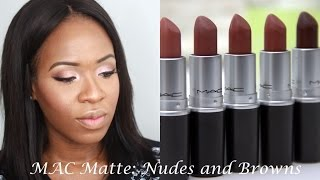 MAC Matte Nude and Brown Lipstick Swatches | WOC Friendly