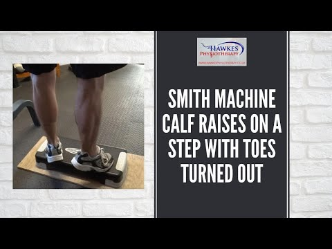 Smith Machine Calf raises on a step with toes turned out: Technique Video