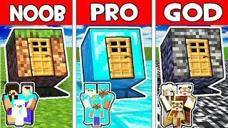Minecraft - NOOB vs PRO vs GOD : FAMILY ONE BLOCK HOUSE in Minecraft Animation