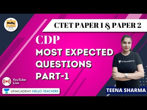 Most Expected Questions | Part -1 | CDP for CTET PAPER 1 & PAPER 2 2020 | Teena Sharma