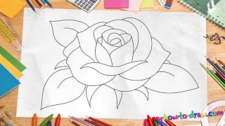 How to Draw a Rose - *NEW 2015* Easy step-by-step drawing lessons for kids
