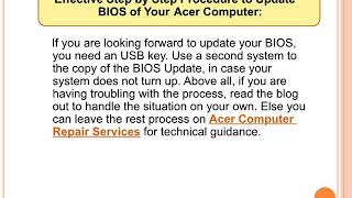 Steps to update bios update Acer Aspire